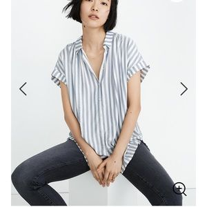 Madewell Stripped Button Front Short Sleeve Top